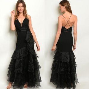 Dresses & Skirts - Black Sleeveless Ruffle V-Neck Dress Gown S-M-L